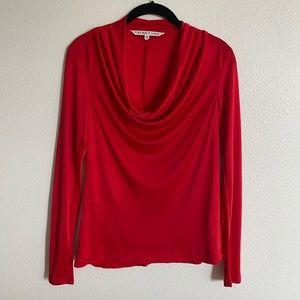 Trina Turk Red Cowl Neck Blouse